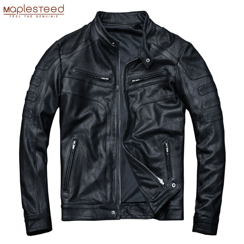MAPLESTEED Tanned Leather Jacket Men 100% Sheepskin Genuine Leather Jacket Slim Fit Black Boy Leather Coat Spring Autumn M110