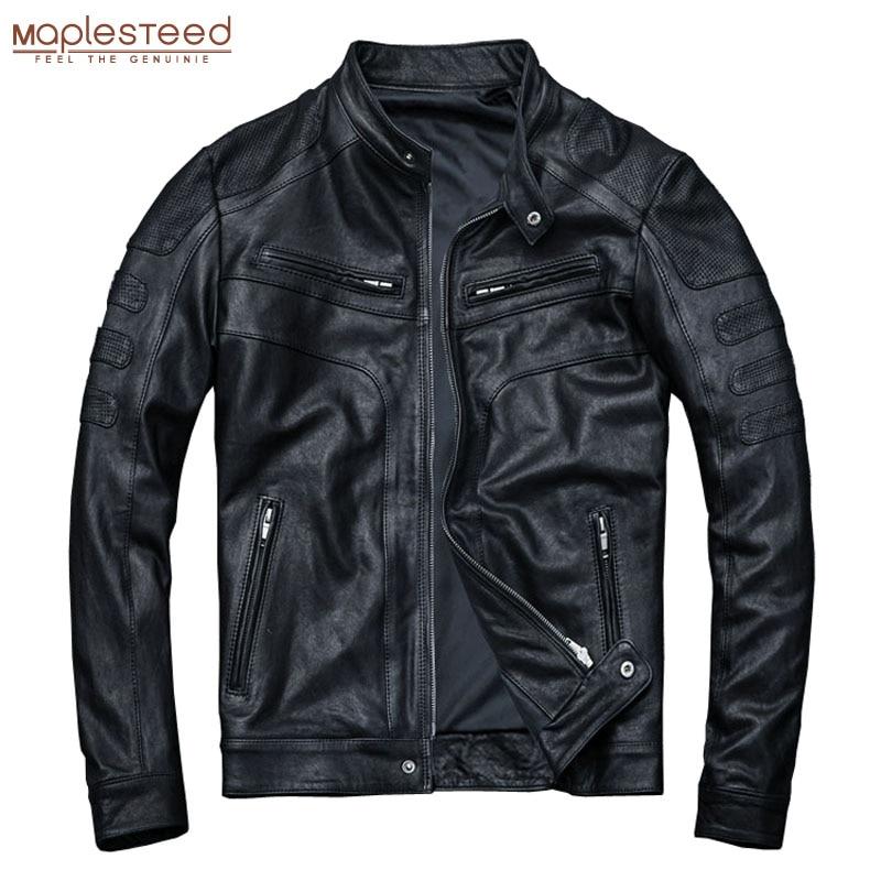 MAPLESTEED Tanned Leather Jacket Men 100% Sheepskin Genuine Leather Jacket Slim Fit Black Boy Leather Coat Spring Autumn M110