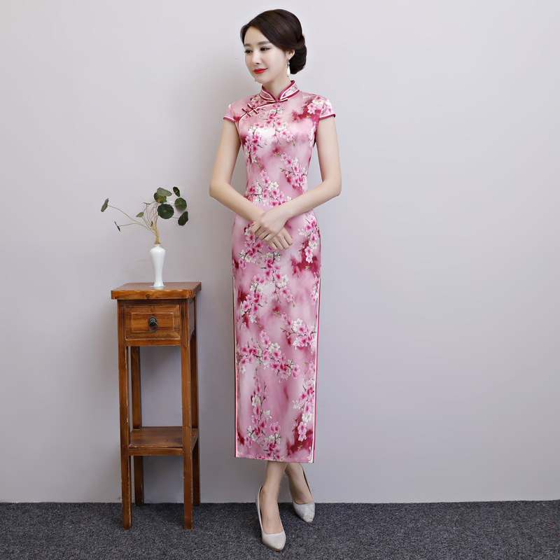 Oversize 3XL Traditional Women Long Cheongsam Summer Short Sleeve Elegant Evening Dress Pink Print Floral Silk Qipao Vestidos