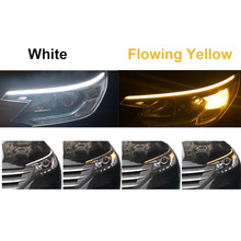 30/45/60cm Amber Flasher drl led Flowing Flexible Tube Strip Daytime Running Lights Turn Signal White Turn Yellow car Styling