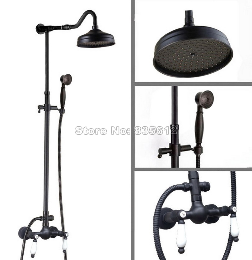 Black Oil Rubbed Bronze Wall Mount Bathroom 8 inch Rain Shower Head Faucet Set Ceramic Handle + Handheld Spray Mixer Taps Wan774