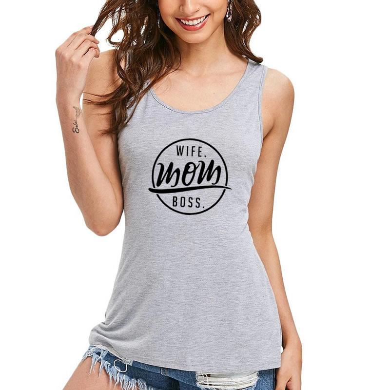 American Flag Fashion WIFE MOM BOSS Print T-Shirt For Women Harajuku Sexy Funny Bts Sleeveless loose Plus Size 3XL 4XL 5XL Tops