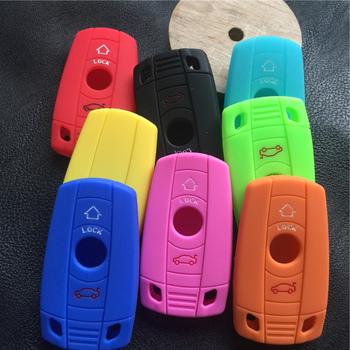 Silicone rubber car key cover case shell set fit FOR BMW X1 X5 X6 1 3 5 7 E SERIES Z4 2 button key image