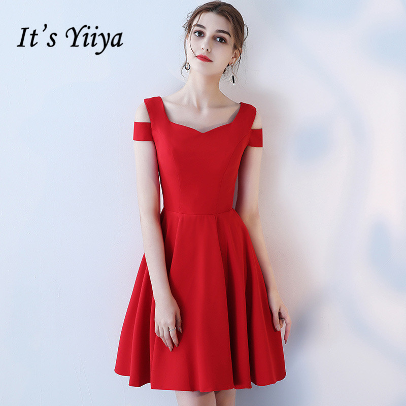 It's YiiYa Simple Red V-Neck Sleeveless Off The Shoulde Zipper Draped   Cocktail     Dresses   Knee Length Formal   Dress   Party Gown LX453