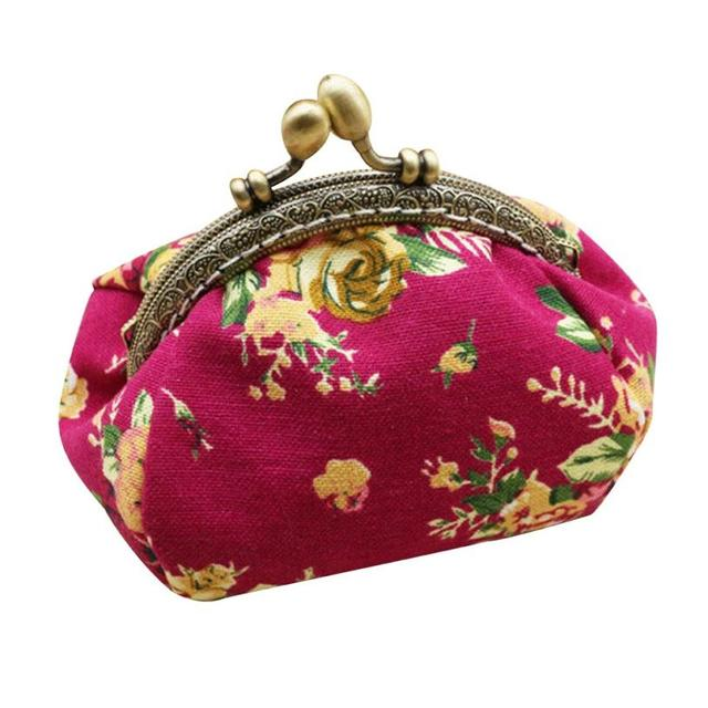Naivety Coin Purse Women Lady Retro Vintage Flower Small Wallet Hasp Printing Floral Clutch Bag Good Gift JUL28 drop shipping 5