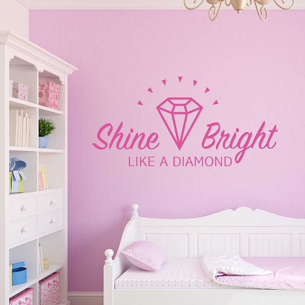 Quote wall decal shine bright like a diamond decorative for Kids room wall decor