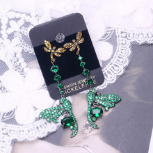 Bilincolor trendy high quality double dragonfly cz green drop earring for women