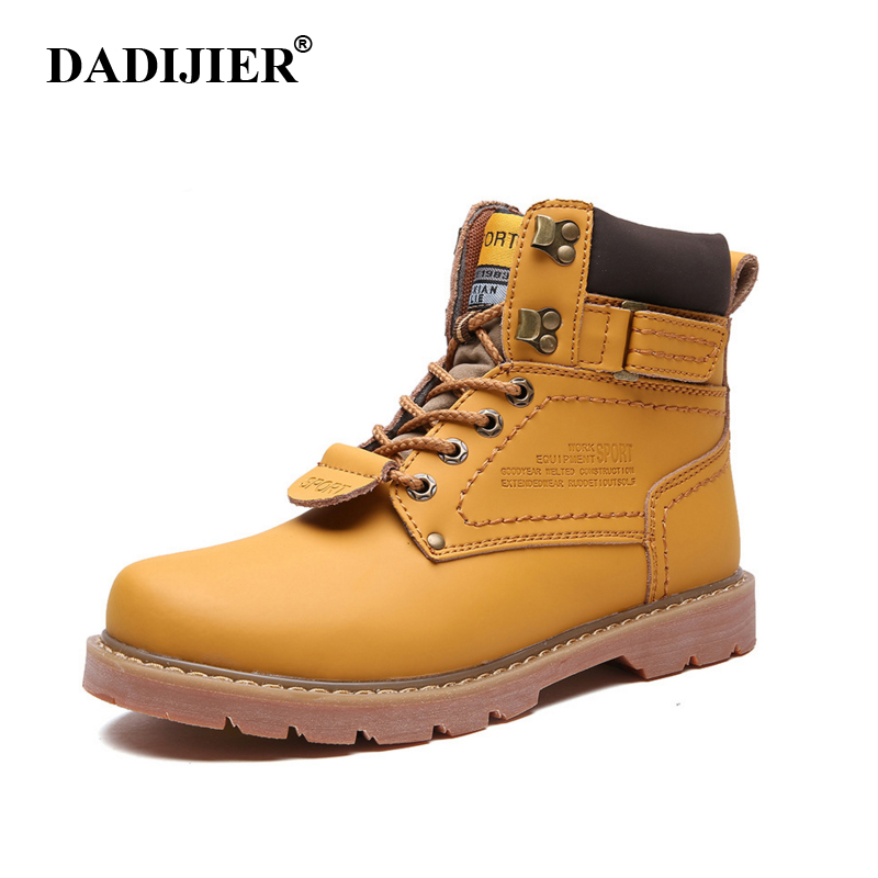 DADIJIER Winter Men Boots High Quality Male Leather Boots cat Safety Boots Fashion Winter Leather Work Shoes men KC01