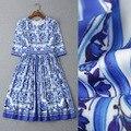Top Qualidade! Nova Chegada 2015 Moda Outono Vestido Mulheres Mangas 3/4 Do Vintage Azul de Porcelana Branca de Impressão Slim Fit Vestido