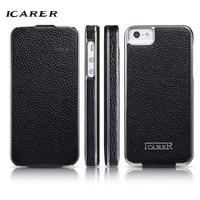 ICarer For IPhone 5S Case Luxury Retro Genuine Leather Hard Plastic Back Protective Flip Phone Case