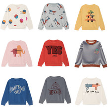 Bobo Choses/Коллекция 2018 года, осенне-зимняя детская одежда, футболки с длинными рукавами, толстовки с рисунками животных для мальчиков, футболки для маленьких девочек