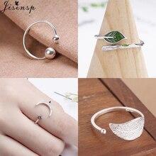 Jisensp женские ювелирные изделия мода простой открытый дизайн лист кольцо двойной шар Круглые Кольца женские CZ Звезда Луна Ringen Mujer