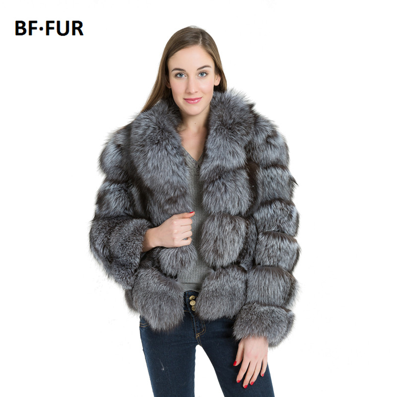 BFFUR 2019 Real Fur Coat With Big Collar Real Fox Fur Coats For Women Winter Genuine Silver Fox Outerwear Slim Striped Coat
