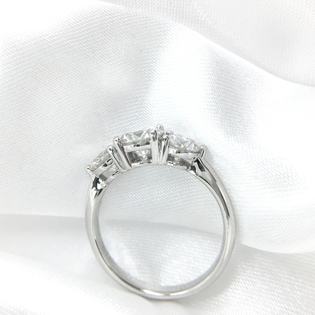 AEAW 2ctw 6.5mm Round Cut Engagement&Wedding Moissanite Diamond Ring Double Halo Ring Platinum Plated Silver 4