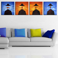 4PCS Famous Original Paintings By Rene Magritte Wall Paintings For Home Decor Idea Oil Painting Art