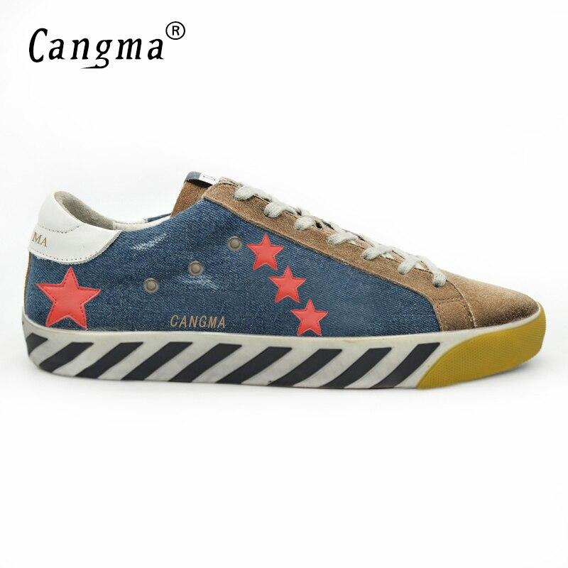 CANGMA Men Trainer Superstar Original Shoes Genuine Leather Canvas Man Casual Patchwork Blue Shoes Scarpe Uomo Zapatillas Hombre hogan scarpe uomo