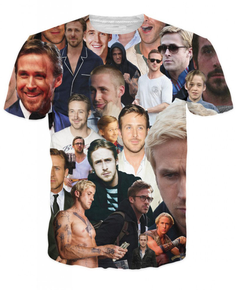 Tee Unisex Fashion <font><b>3D</b></font> Print Women <font><b>Men</b></font> <font><b>T</b></font> <font><b>Shirts</b></font> Ryan Gosling Paparazzi <font><b>T</b></font>-<font><b>Shirt</b></font> <font><b>Sexy</b></font> American Actor Top Tees <font><b>Shirt</b></font> Clothing R2919 image