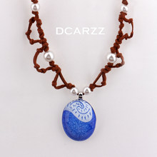 2016 Princess Moana Hand Painted Blue Stone Pendant with Handmade Leather Rope Pearls Bead Chain Moana Cosplay Costume Necklace(China)