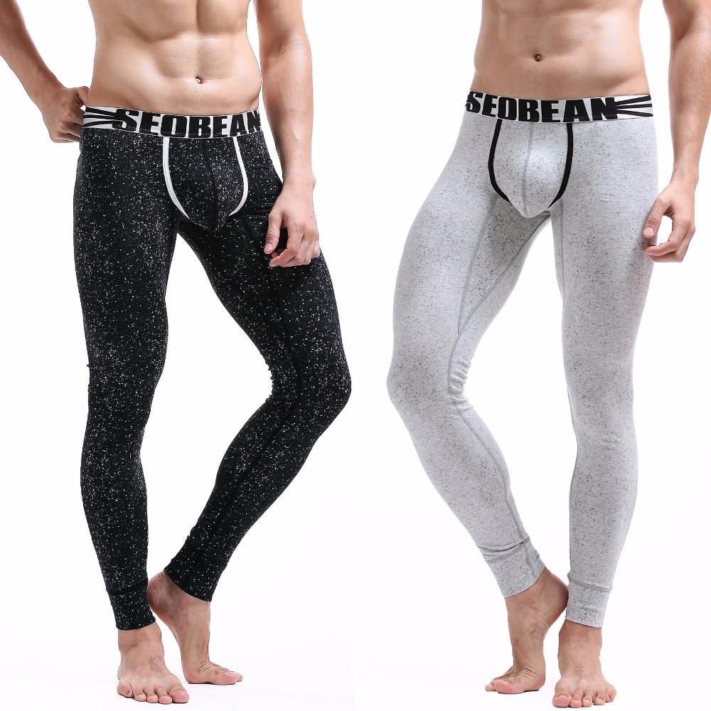 10a6feada605 Leggings de algodón sexys para hombre 2016 invierno ropa interior térmica  de tiro bajo ropa interior térmica de punto pequeño pantalones ajustados