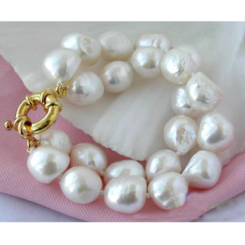 все цены на Perfect Women Birthday,Chirstmas Gift Pearl Bracelet,2Row 15mm White Baroque Freshwater Pearl Bracelet Bangle