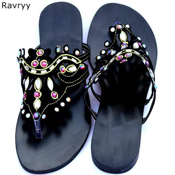 a3cc4ad64 ... Summer bling bling colorful rhinestone Woman sandals crystal slip-on flats  flip flops female single