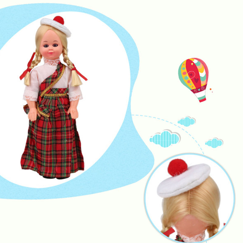 Vivid Baby Toys Ethnic Dolls Scotland Girls Clothes 9.5inches Cute Lovely Dolls Nationality Toys Children's Best Gift 1009-008