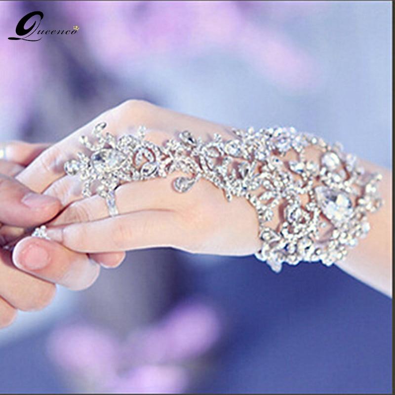 Brud Armband Bröllop Tillbehör Hand Kedjor Armband Kvinnor Rhinestone Smycken Bridemaid Armband & Bangles