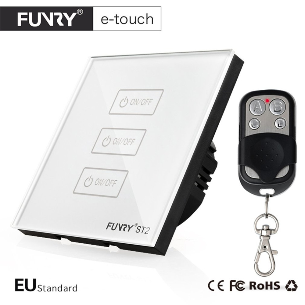 FUNRY ST2-EU-3R Tempered Glass Panel Smart Remote Control Sensor Switch Waterproof Shiny Panel Wall Touch Switch With LED smart home eu touch switch wireless remote control wall touch switch 3 gang 1 way white crystal glass panel waterproof power