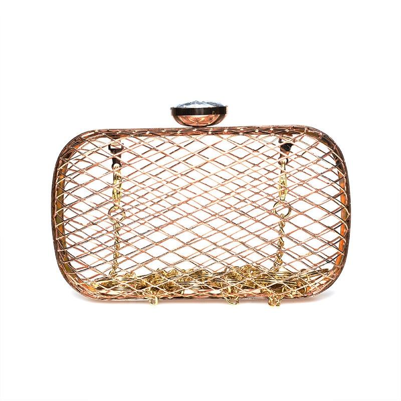 ФОТО Oval Gold mini Evening Bags Ladies Hollow metal mesh clutch bag Wedding Party Bag Women Diamond buckle Purses chain shoulder bag
