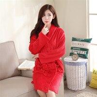 Women Soft Warm Coral Fleece Long Bathrobe Winter Kimono Flannel Bath Robe Nightgown Womens Dressing Gown