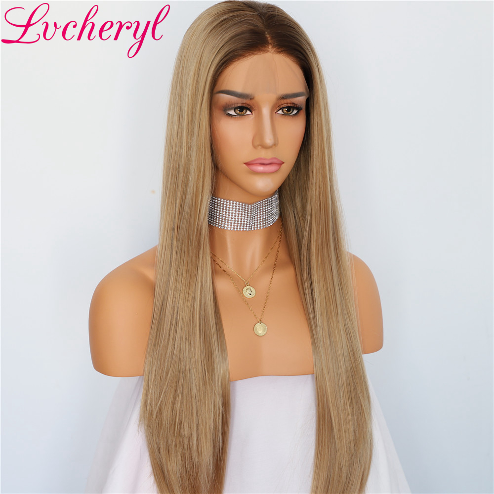 Natural Long Silky Straight Dark Roots Ombre Ash Blonde Heat Resistant Glueless Synthetic Lace Front Wigs