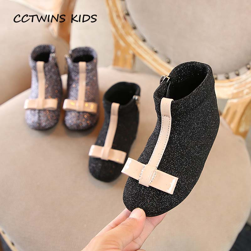 CCTWINS KIDS 2018 Autumn Baby Girl Glitter Soft Shoe Toddler Brand  Butterfly Ankle Boot Children Fashion Black Boot CF1505-in Boots from Mother    Kids on ... d99e5182c7ed