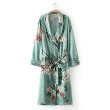 Vintage Pareo Retro Floral -Green Long Kimono Jacket Long Sleeve Cardigan