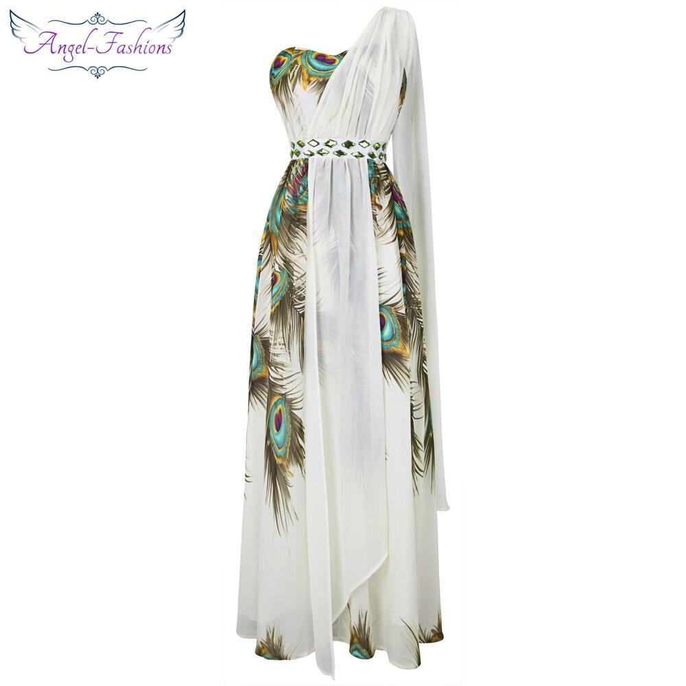 Angel-fashions Womens One Shoulder Chiffon Peacock Rhinestones Split Dress