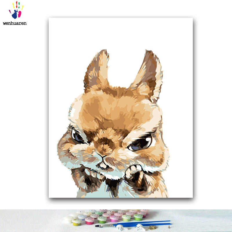 DIY Coloring paint by numbers Cartoon bunny cat and other animals paintings by numbers with kits 40x50 framed