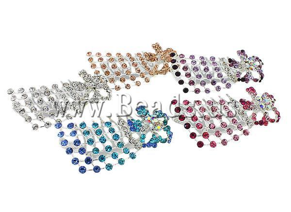 Free shipping!!!Decorative Hair Combs,Lovely Jewelry, Zinc Alloy, with rhinestone, mixed colors, nickel, lead & cadmium free