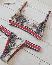 2019 female bandage swimsuit hot straps bikini snakeskin print biquini bandeau bathing suit padded swimwear beachwear summer
