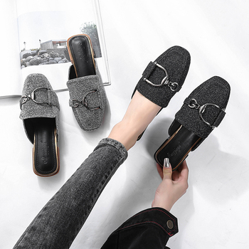 Baotou half slippers women wear outside summer 2019 new thick with low-heeled social shoes without heel square lazy cool drag