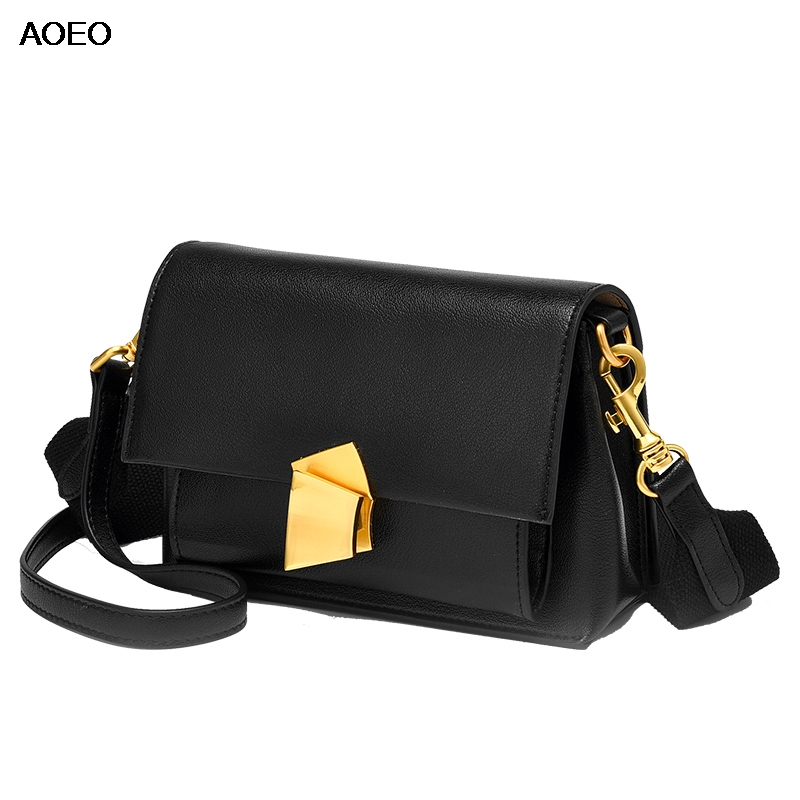 AOEO Luxury Women Shoulder Bags 2019 New Design Ladies Hand Bags Split Leather Nylon Wide Strap