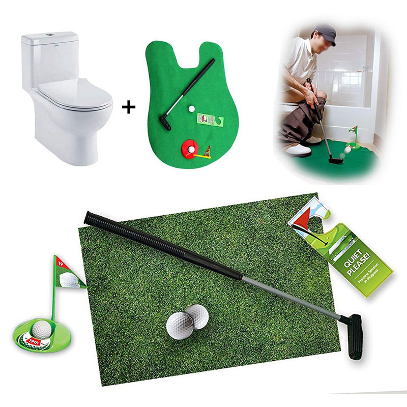 2019 New Golf Accessories Golf Game Mini Set Toilet Putting Green Novelty Game Hig Quality For Men Women Practical Jokes 1 Set