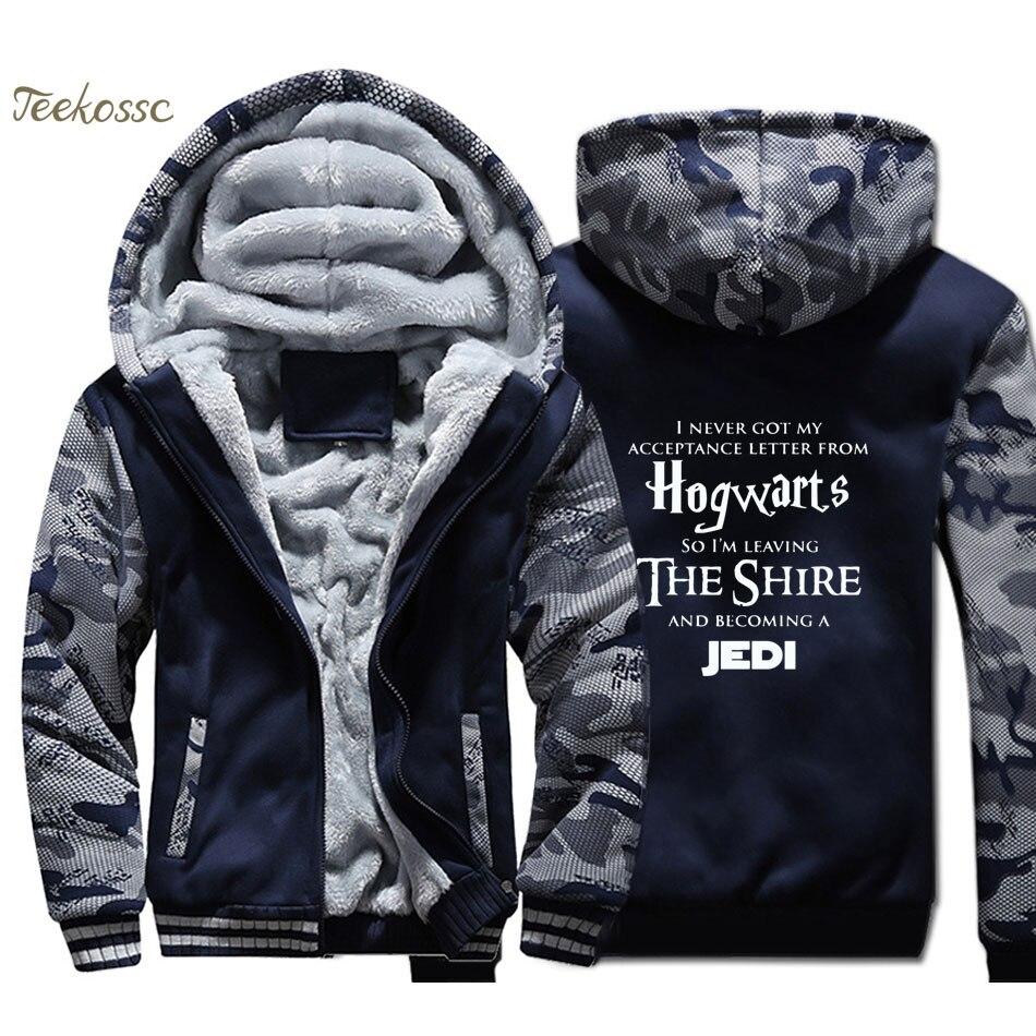 Hogwarts Star Wars Jedi Inspired Hoodie Men Funny Slogan Premium Hooded Sweatshirt Coat 2018 Thick Fleece Warm Camouflage Jacket