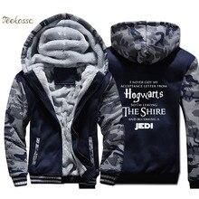 Hogwarts Star Wars Jedi Inspired Hoodies Men Funny Slogan Premium Sweatshirts Coats Winter Thick Fleece Warm Zipper Jackets Mens