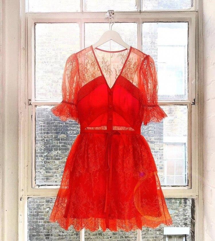 2019 새로운 도착 오렌지 꽃 레이스 드레스-에서드레스부터 여성 의류 의  그룹 1