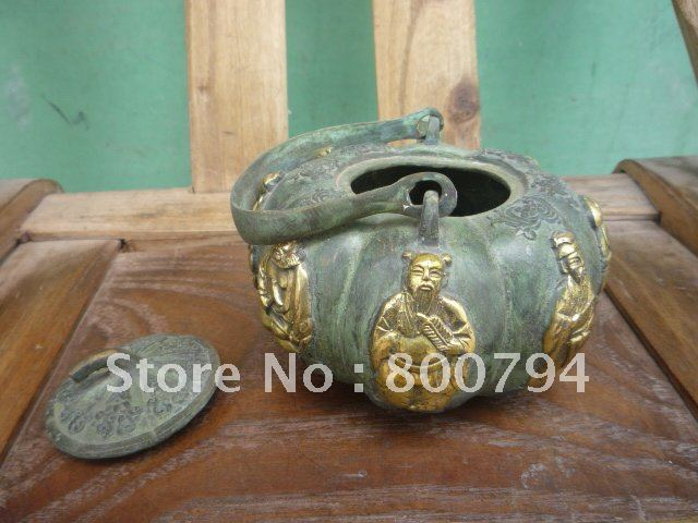 Very rare Ming Dynasty Bronze Flagon/Teapot,Sculpture  Fairy,Free  shipping,Very rare Ming Dynasty Bronze Flagon/Teapot,Sculpture  Fairy,Free  shipping,