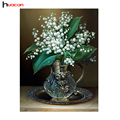 HUACAN 5D White Russia Flower Diamond Painting for Living Room Cross Stitch DIY Diamond Mosaic Popular Handmade Crafts F1333