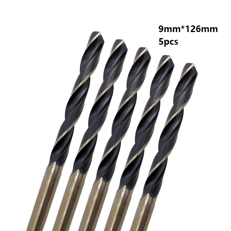 Hot 5pcs/box 9.0mm Straight Shank HSS/High Speed Steel Twist Drill Bit Woodworking Tool For Metal free shipping of 1pc hss 6542 made cnc full grinded hss taper shank twist drill bit 11 175mm for steel