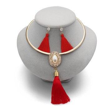 Tassel  Boho Pearl Chocker Necklace Crystal Drop  Jewelry Set  2