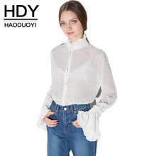 hot deal buy haoduoyi womens summer sexy lace hollow out sheer flare sleeve buttons blouses shirts casual solid femme girl tops for wholesale