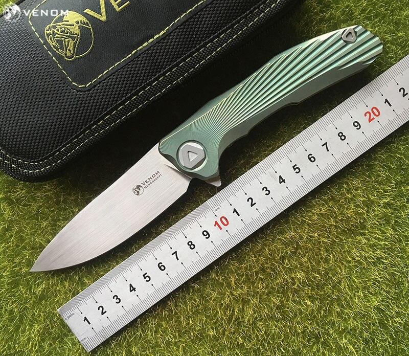 KEVIN JOHN Flipper S35vn 3 novo conceito de VENENO faca dobrável lâmina TC4 Titânio acampamento ao ar livre sobrevivência faca de frutas ferramentas EDC