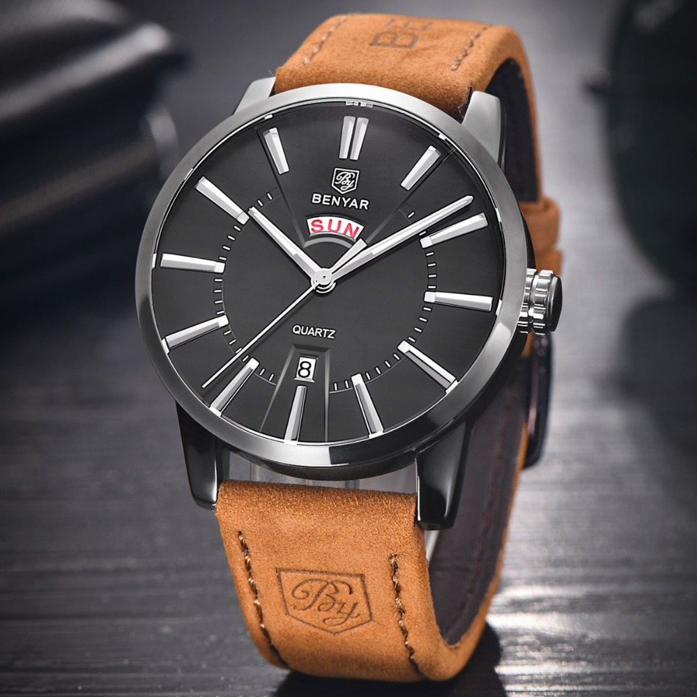 Luxury Mens Fashion Quartz Watches BENYAR Double Calendar Business Men Watch Male Leather Wristwatches Clock reloj hombre 2017 yazole watch men 2016 simple big dial fashion business mens watches leather strap quartz wristwatches male clock reloj hombre